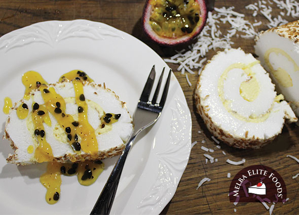 Passionfruit & Toasted Coconut Roulade